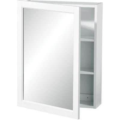 Mirrored Wall Cabinet white Wood 2 tier shelves