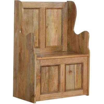 Monks Wooden Small Hallway Storage Bench In Oak Ish