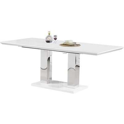 Monton Extendable Dining Table Large In White High Gloss Only