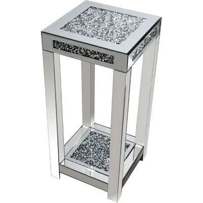 Montrez Mirrored Large Side Table With Shelf