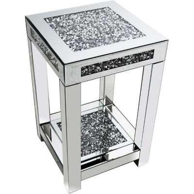 Montrez Mirrored Medium Side Table With Shelf