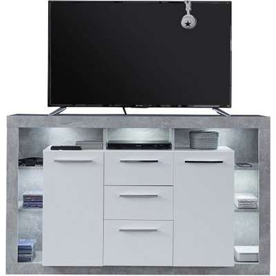Monza Wooden Tv Sideboard In Grey And White With LED Lighting