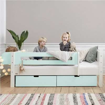 Morden Kids Day Bed With Safety Rail And Drawers In Azur Mint