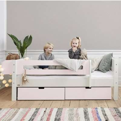 Morden Kids Day Bed With Safety Rail And Drawers In Light Rose