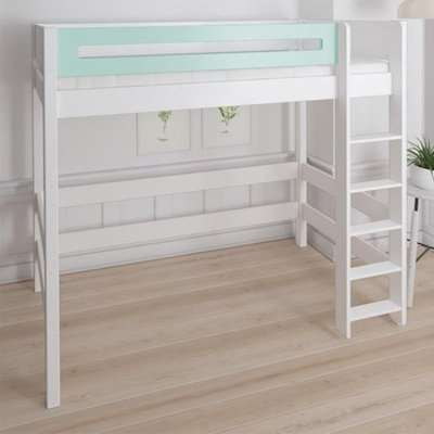 Morden Kids High Sleeper Bed With Safety Rail In Azur Mint