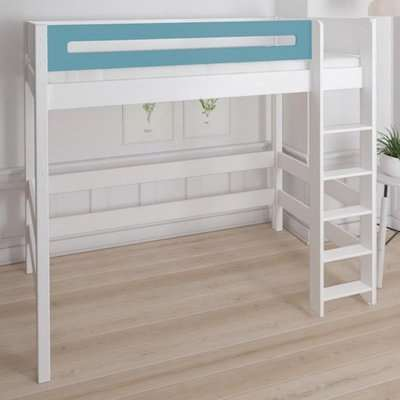 Morden Kids High Sleeper Bed With Safety Rail In Petroleum