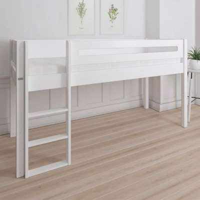 Morden Kids Mid Sleeper Bed With Safety Rail In Snow White