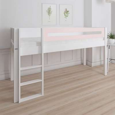 Morden Kids Mid Sleeper Bed With Safety Rail In Light Rose