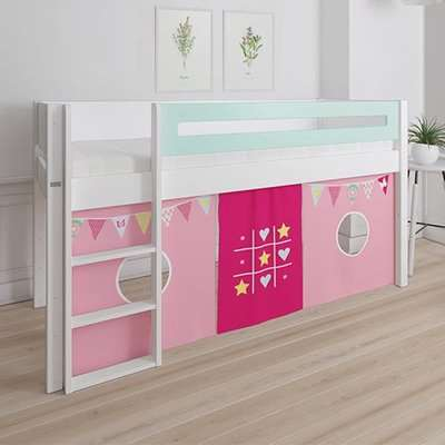 Morden Kids Mid Sleeper Bed In Azur Mint With Bunting Curtain