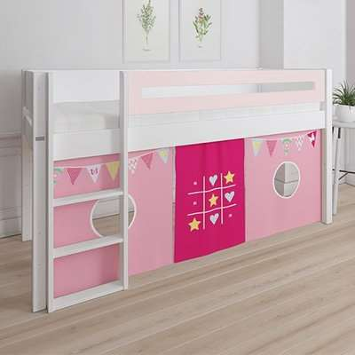 Morden Kids Mid Sleeper Bed In Light Rose With Bunting Curtain