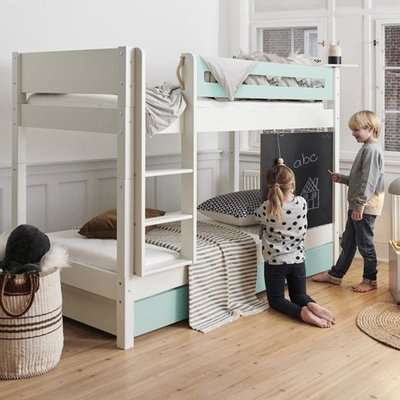 Morden Kids Wooden Bunk Bed With Safety Rail In Azur Mint