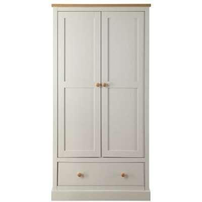 Movada Wooden Wardrobe In Dove Grey With 2 Doors