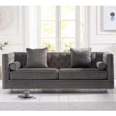 Mulberry Modern Fabric 4 Seater Sofa In Grey Velvet
