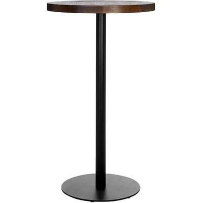 Kekouan Wooden Round Dining Table In Walnut With Black Leg