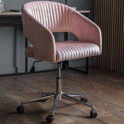 Murray Velvet Upholstered Swivel Office Chair In Pink