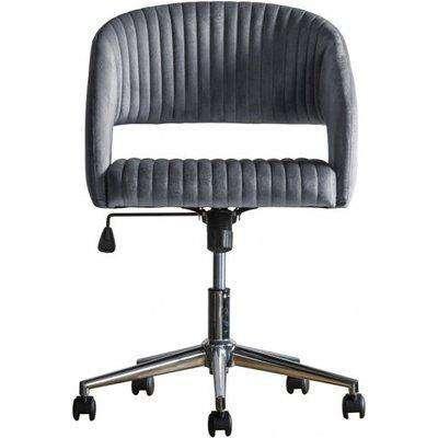 Murray Velvet Upholstered Swivel Office Chair In Charcoal