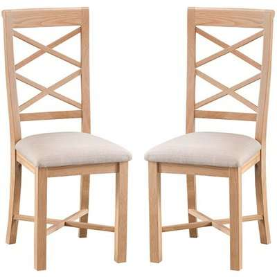 Nassau Natural Oak Double Cross Back Dining Chair In Pair