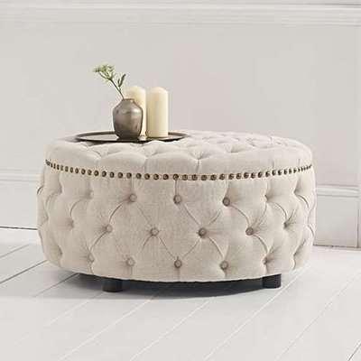 Nesta Linen Upholstered Round Footstool In Cream