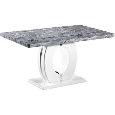 Neville Marble Effect Gloss Medium Dining Table With White Base