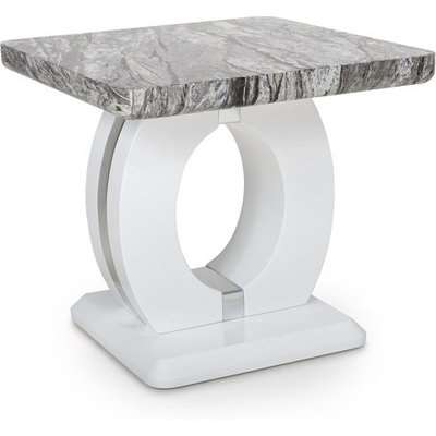 Neville Marble Gloss Effect Coffee Table With White Base