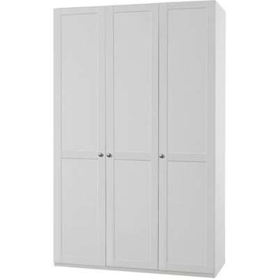 New Tork Tall Wooden Wardrobe In White With 3 Doors
