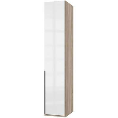 New Xork Tall Wooden Wardrobe In High Gloss White And Oak 1 Door