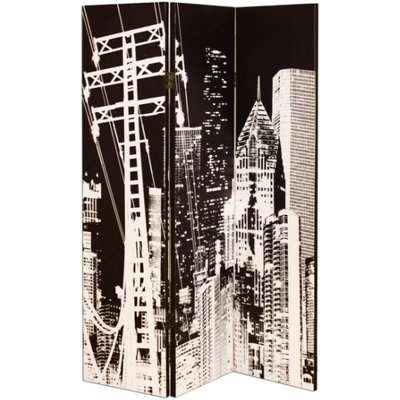 New york City Canvas Printed Room Divider In A Monotone Colour
