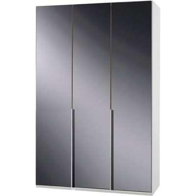 New Zork Wooden Wardrobe In Gloss Grey And White 3 Doors
