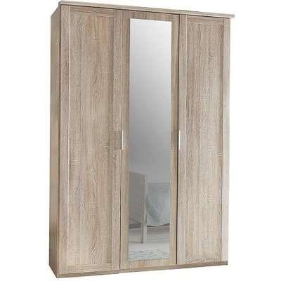 Newport Wooden Mirror Wardrobe In Oak Effect With 3 Doors