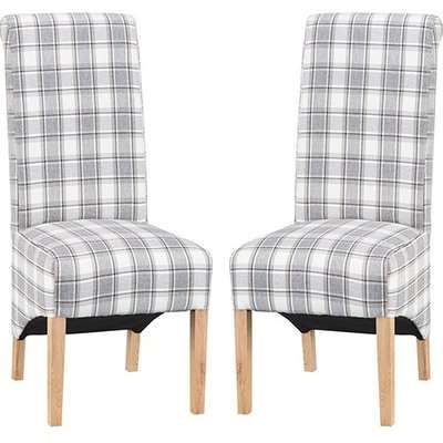 Nichols Cappuccino Fabric Scroll Back Dining Chairs In Pair