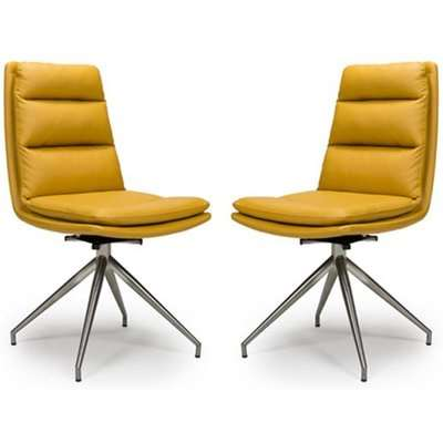 Nobo Ochre Faux Leather Dining Chair With Steel Legs In Pair
