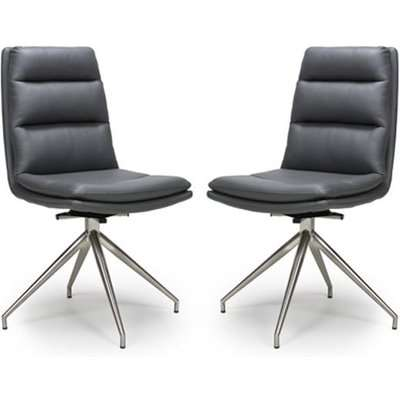 Nobo Grey Faux Leather Dining Chair With Steel Legs In Pair