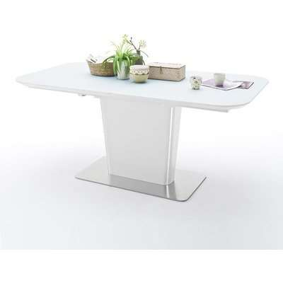 Nolte Glass Extendable Dining Table In White And Steel Base