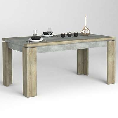 Norton Extending Large Dining Table In Oak And Concrete Effect
