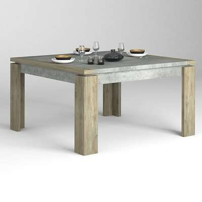 Norton Square Wooden Dining Table In Oak And Concrete Effect