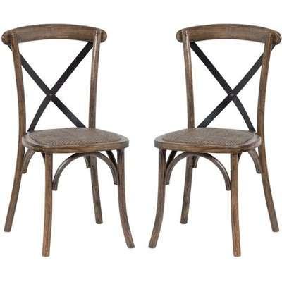 Oatlin Cross Back Oak Wooden Dining Chairs In Pair