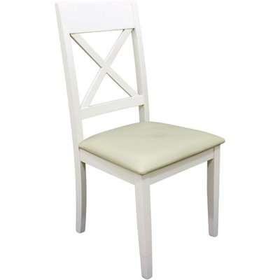 Ohyeap Cross Back Padded Dining Chair In Painted White