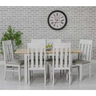 Ohio Extending Dining Set With 6 Padded Slat Back Chairs