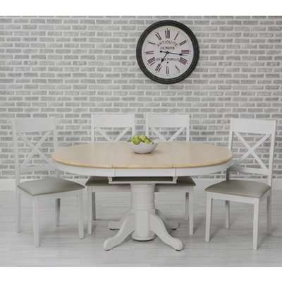Ohio Round Extending Dining Set With 4 Padded Cross Back Chairs