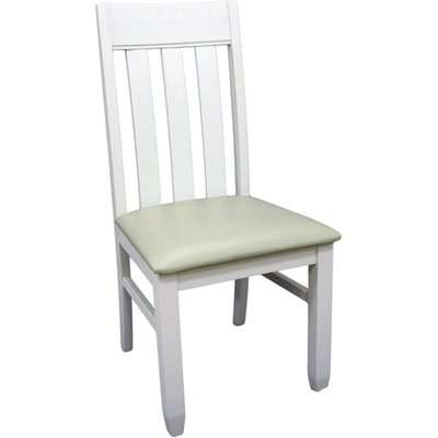 Ohyeap Slat Back Padded Dining Chair In Painted White