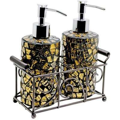 Orion Mosiac Glass Soap Dispensers In Gold With Basket