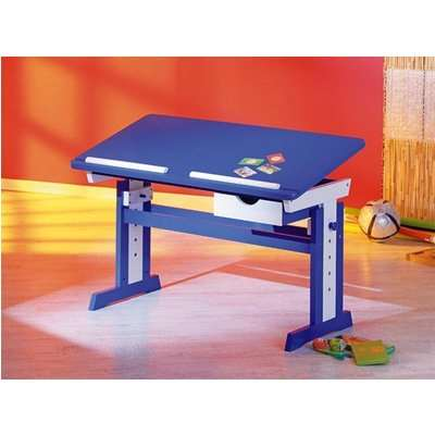 Paco Childrens Computer Desk In Blue Wood
