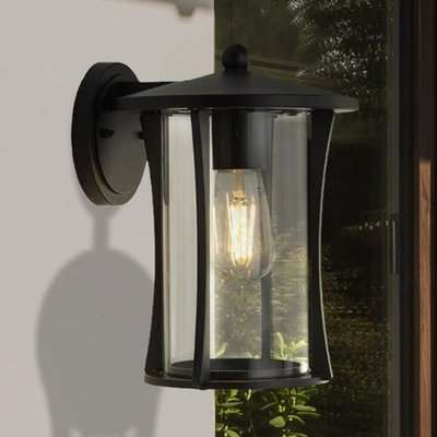 Pagoda Outdoor Wall Light In Black With Clear Glass