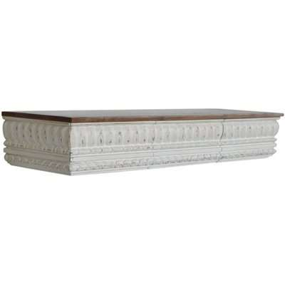 Palazzo Wooden Wall Hung Console Table In White And Rich Honey