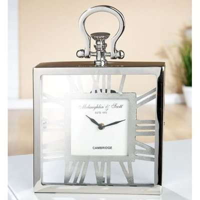 Pasio Glass Table Clock With Silver Metal Frame
