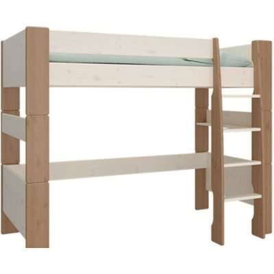 Pathos Wooden High Sleeper Bed In White And Stone With Ladder
