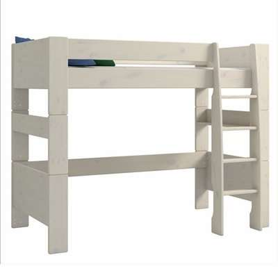 Pathos Wooden High Sleeper Bed In White Wash With Ladder