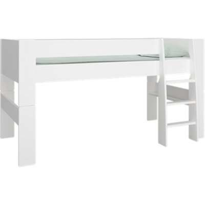 Pathos Wooden Mid Sleeper Bed In Pure White With Ladder
