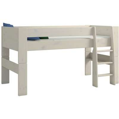 Pathos Wooden Mid Sleeper Bed In White Wash With Ladder
