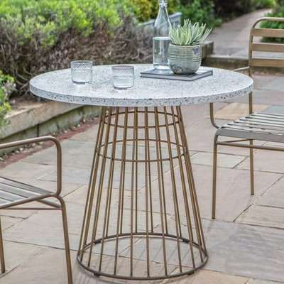 Pembury White Marble Bistro Table In Bronze Metal Base